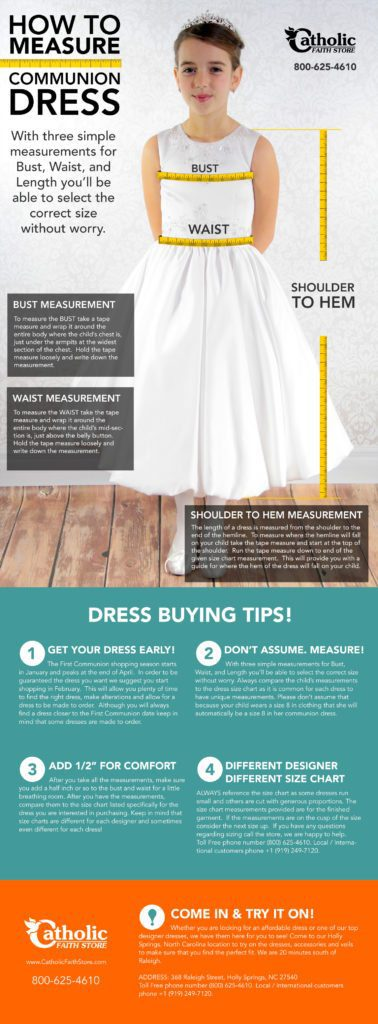 Tips on measuring for a first communion dress
