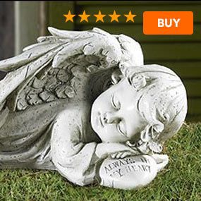 "Sleeping Angel Garden Statue - 12.25""W"